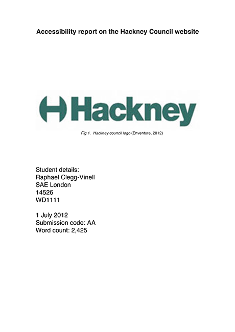 Hackney Council Accessibility Report