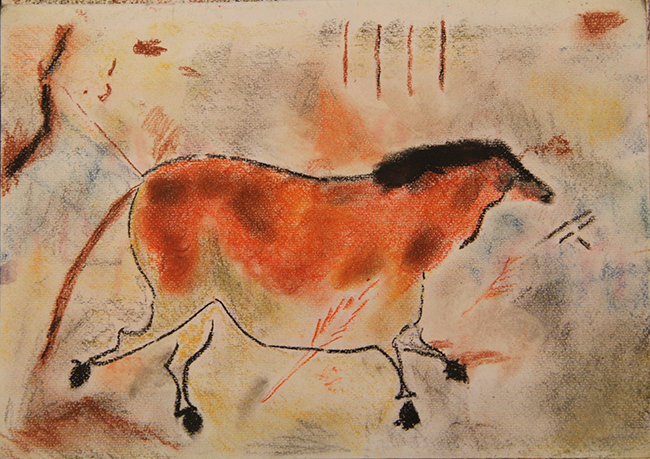 Cave painting picture in pastel