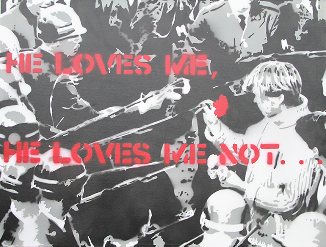 Three layer stencil called 'Loves Me, Loves Me Not'